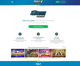 pronto casino homepage